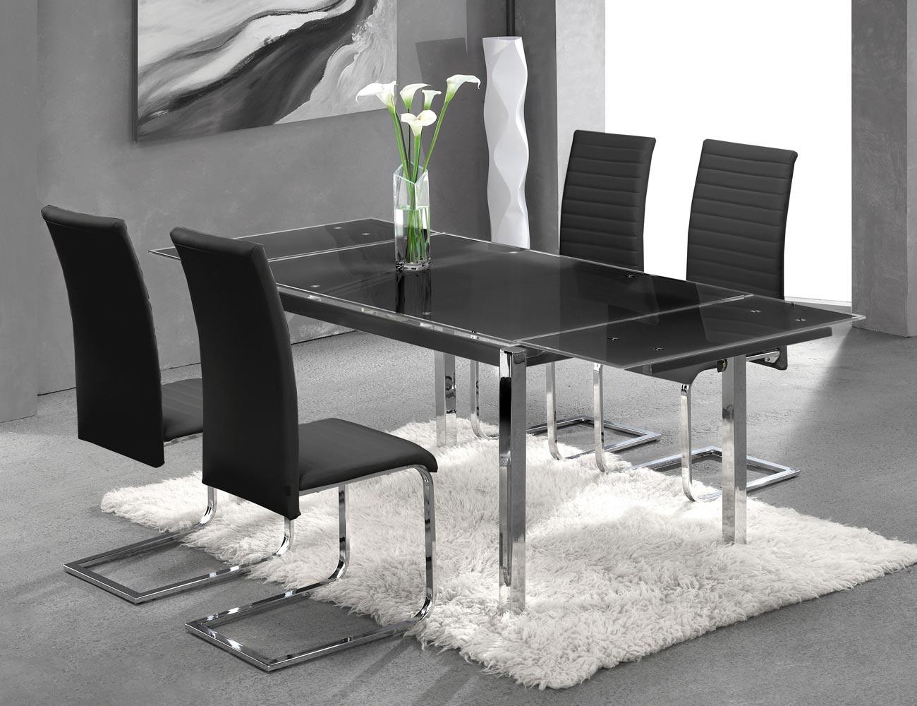 Mesa cocina cristal templado negra extensible 207 3722
