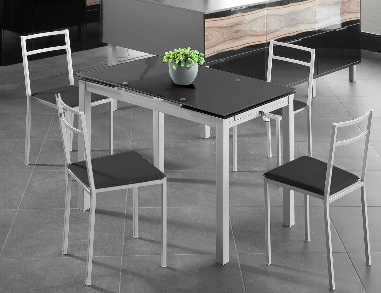 Mesa de cocina extensible en cristal templado 3582 for Mueble mesa cocina