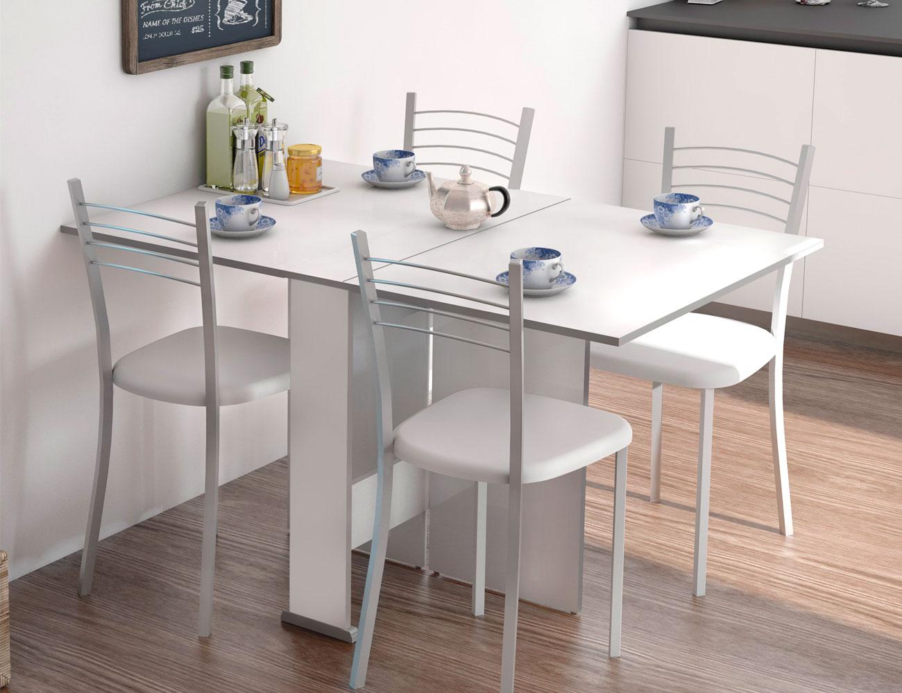 Mesa cocina elevable blanco 200 abierta 250