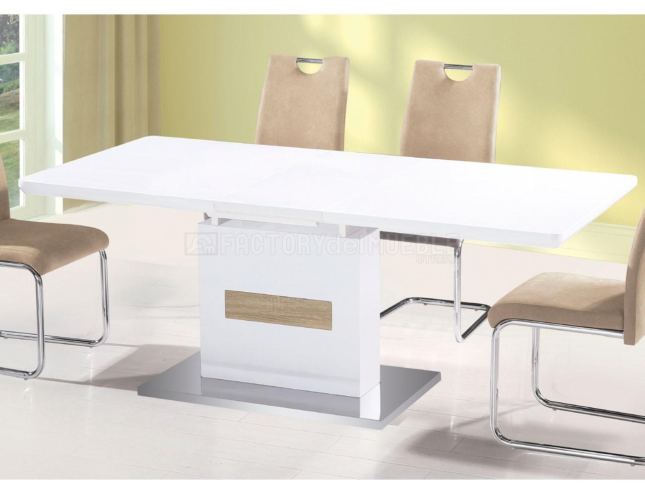 Mesa comedor extensible en blanco lacado con cambrian y base acero ...