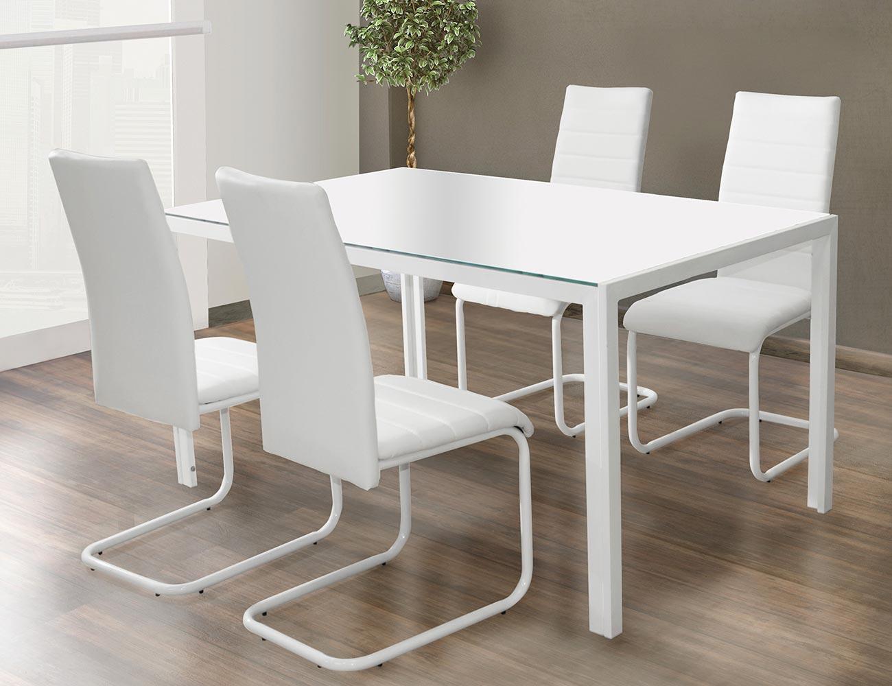 Mesa comedor blanco con cristal templado 281