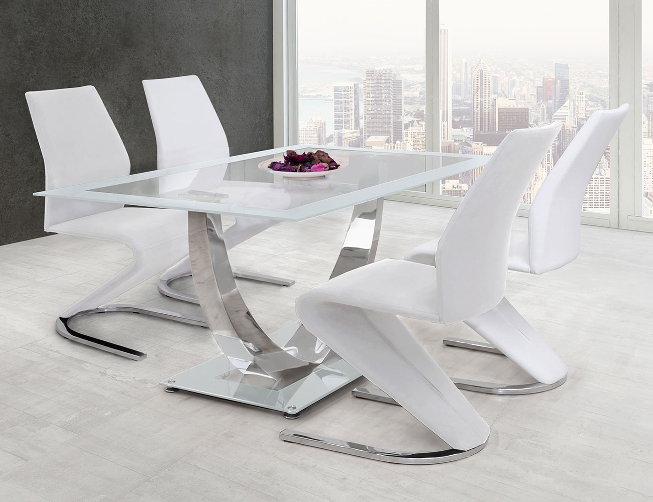Mesa de comedor de cristal templado decorativa en blanco (21496 ...
