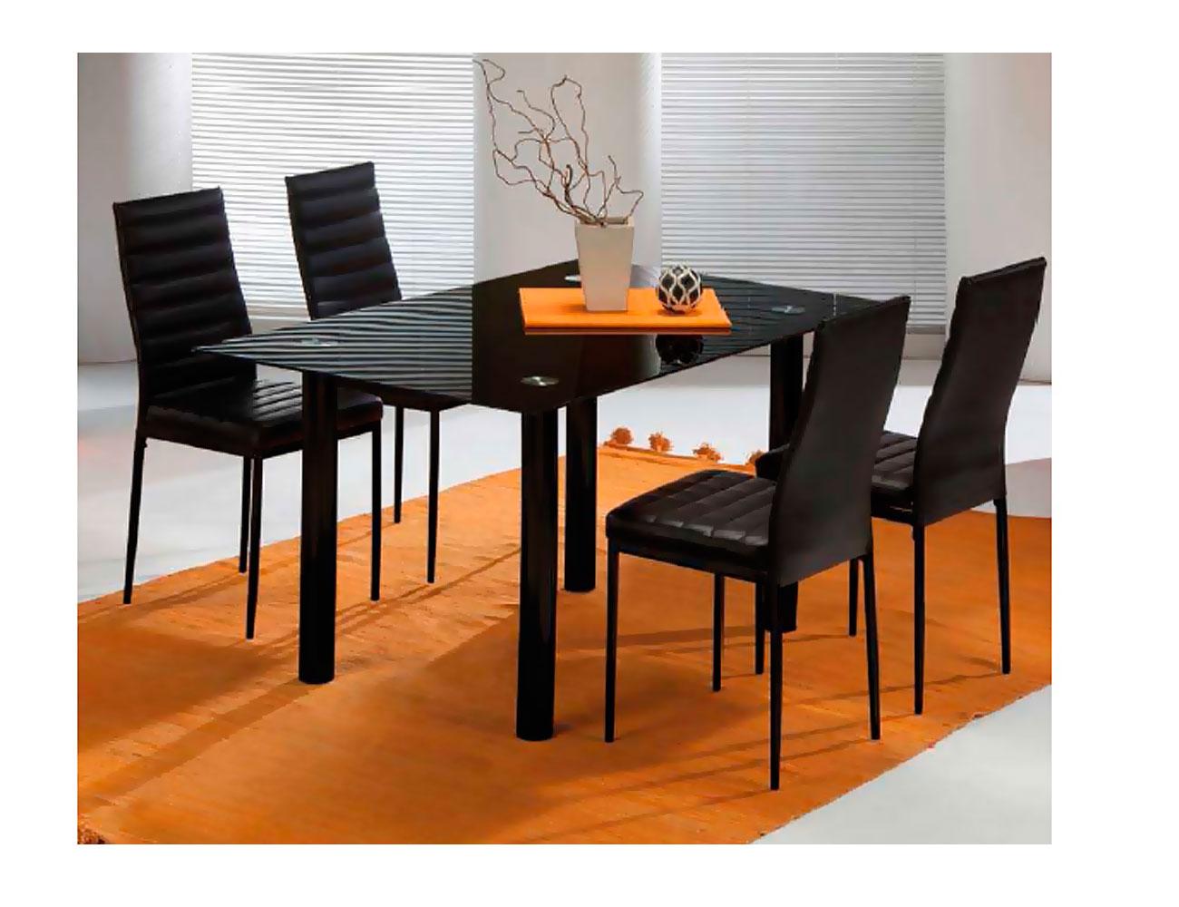 Mesa de comedor con cristal templado negro y patas metálicas en negro