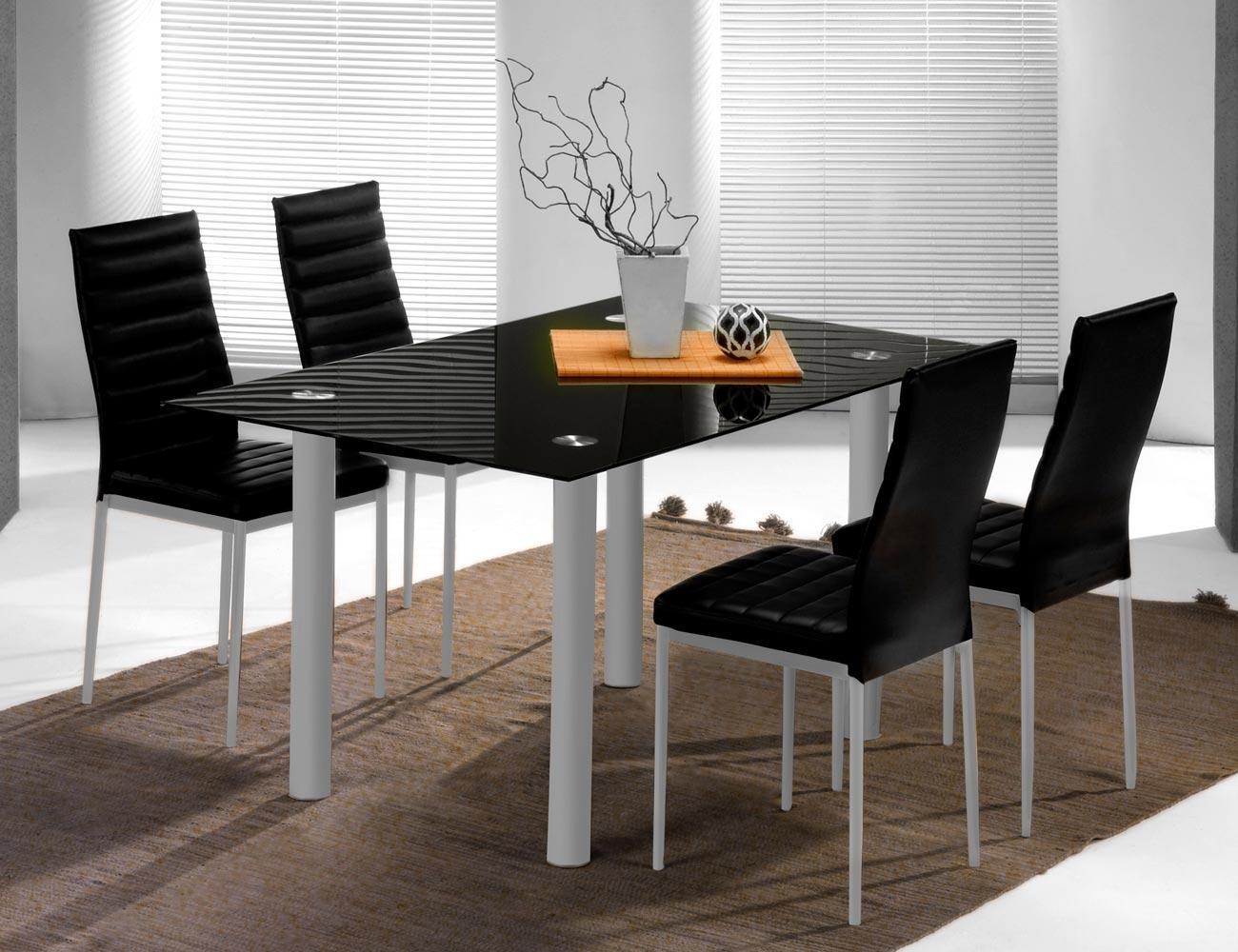 Conjunto de mesa mas cuatro sillas en polipiel color negro - Mesa comedor cristal ...