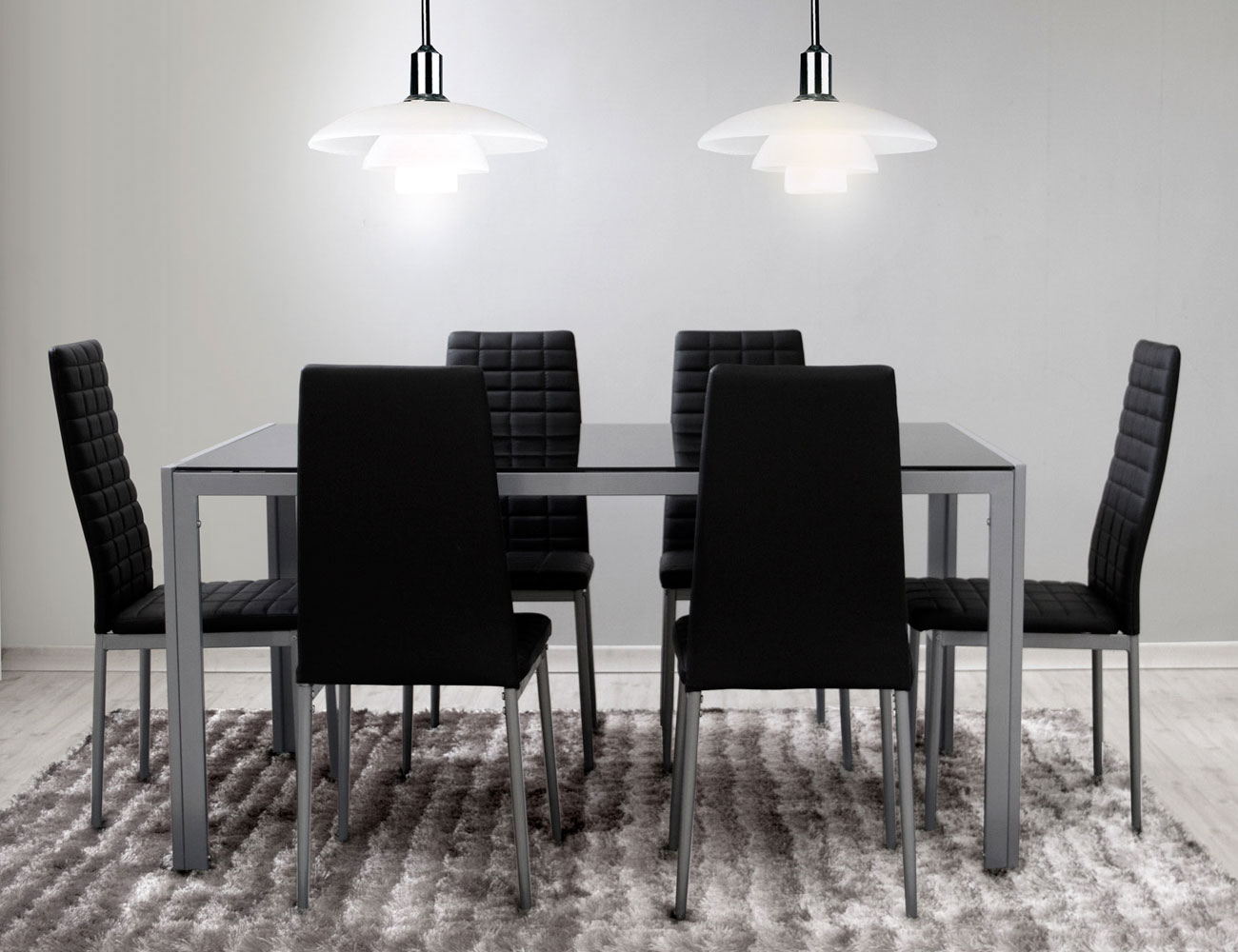 Mesa comedor cristal templado 281 negra pack