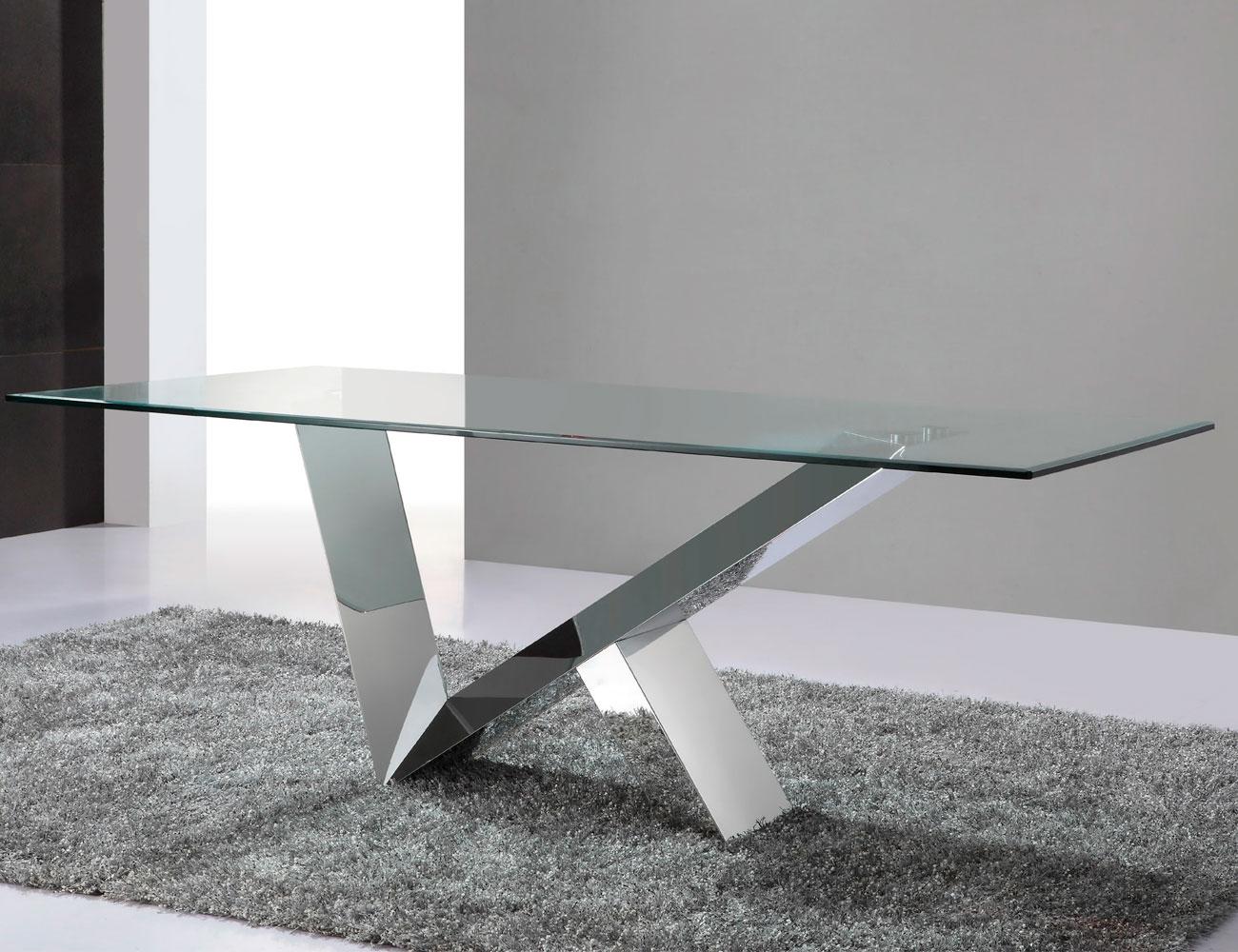 Mesa de comedor de cristal templado y estructura acero - Mesas de comedor modernas de cristal ...