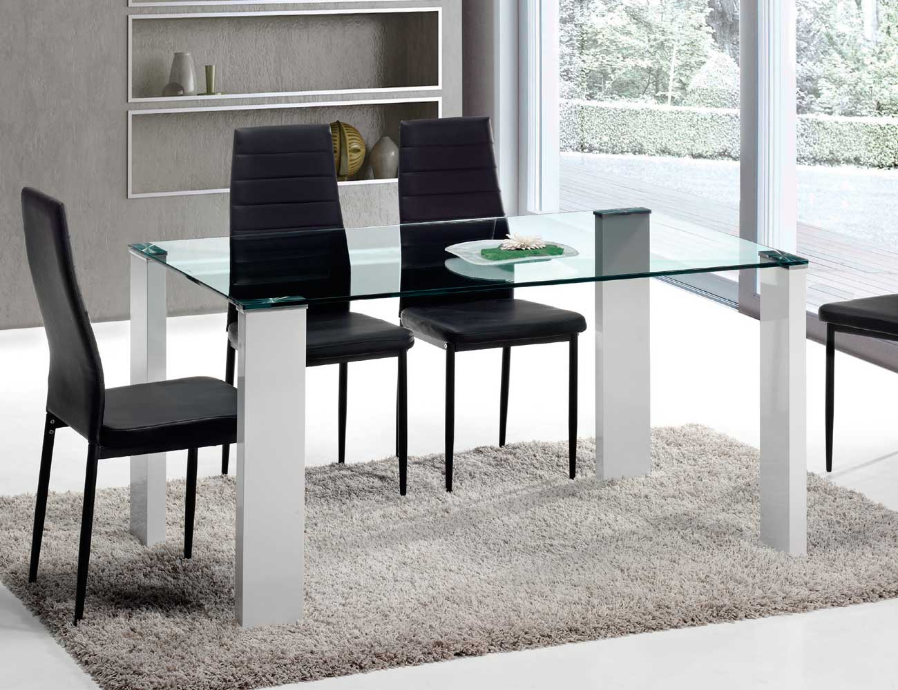 Mesa de comedor de cristal templado de 150 cm de ancho - Mesa cristal templado ...