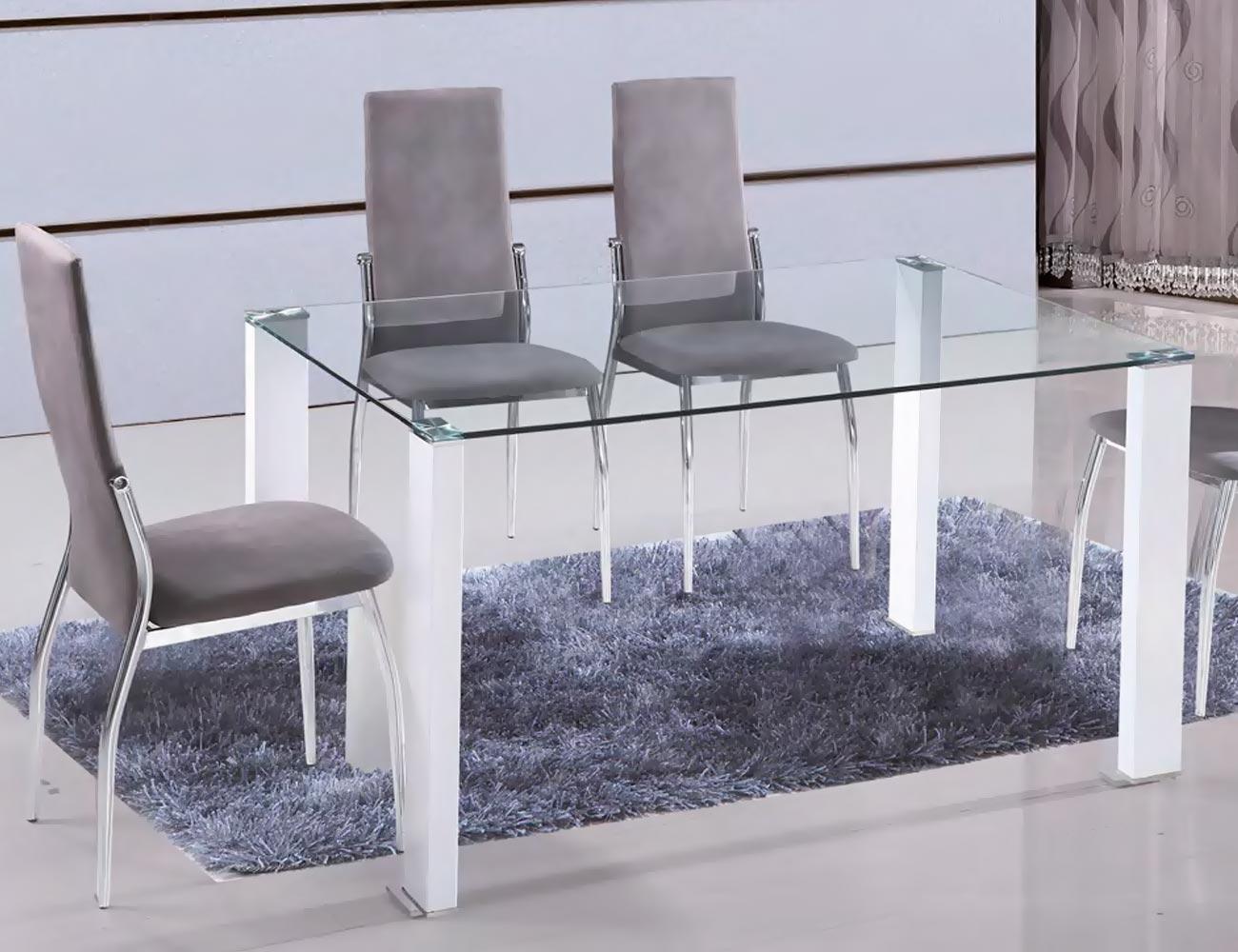 Mesa de comedor con cristal templado y patas en blanco - Mesa cristal blanco ...
