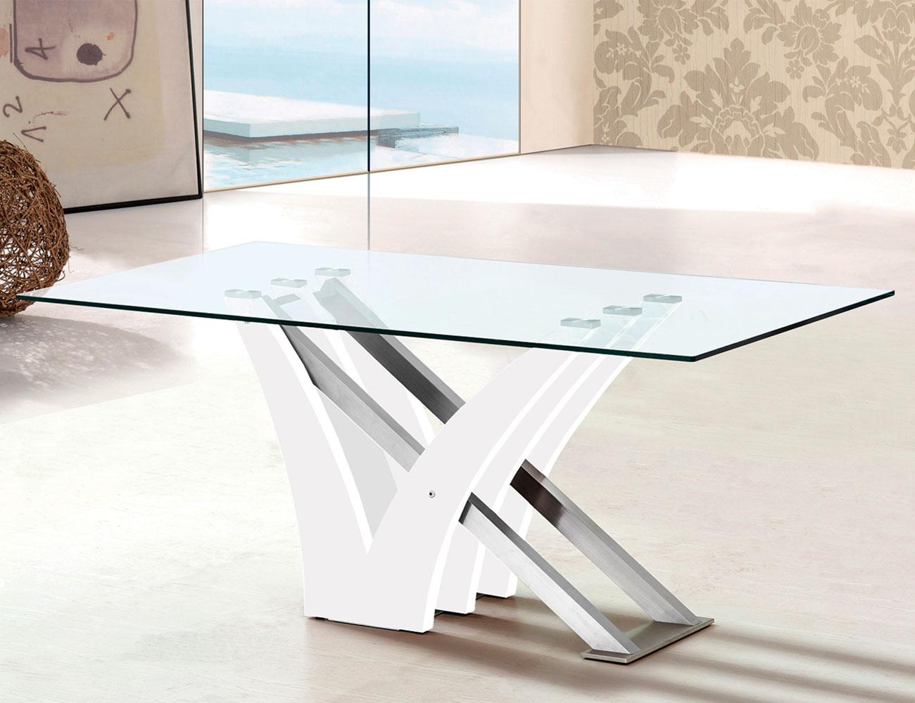 Mesa comedor cristal templado blanco