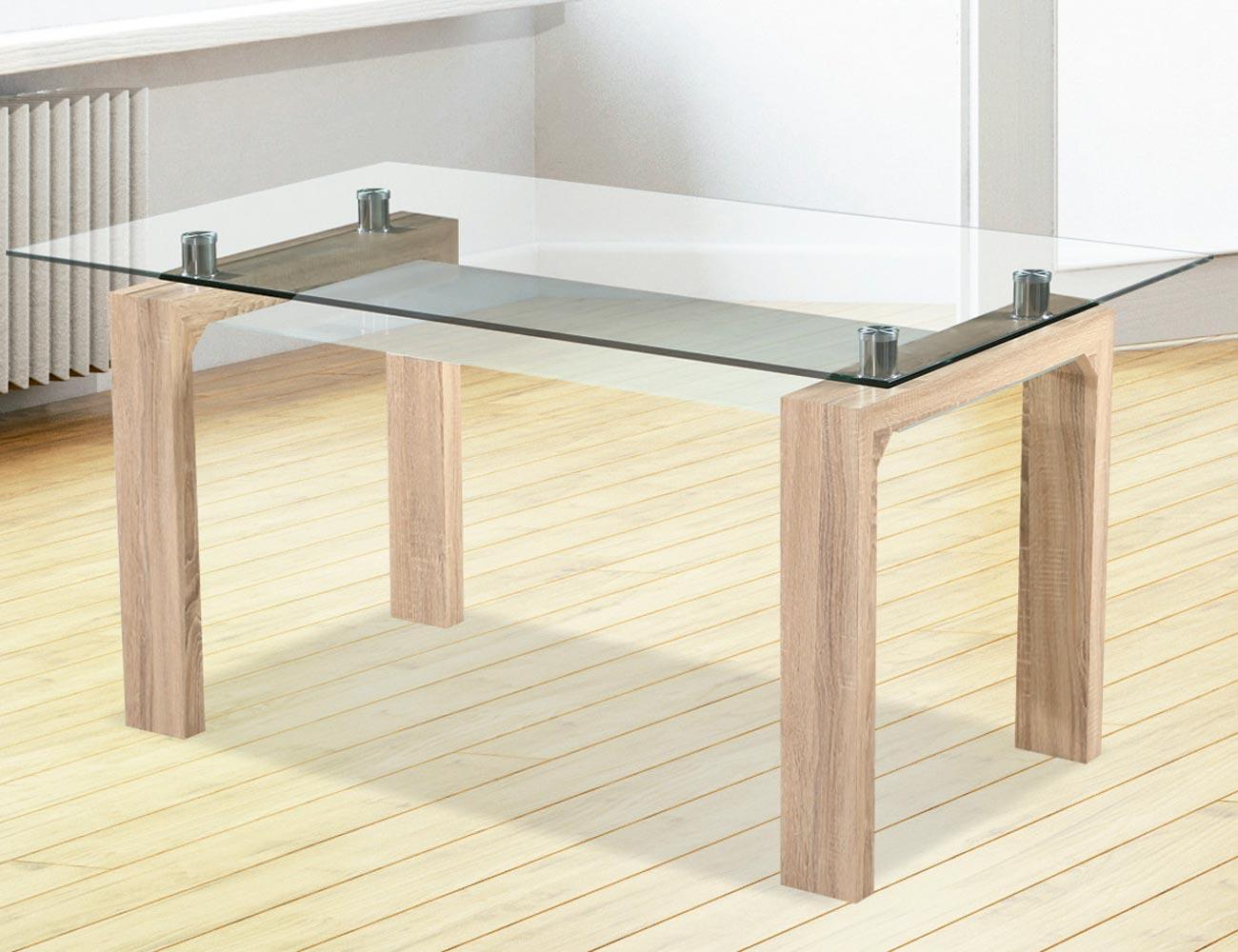Mesa comedor en cristal templado transparente de 150 cm de for Mesas de comedor cristal transparente