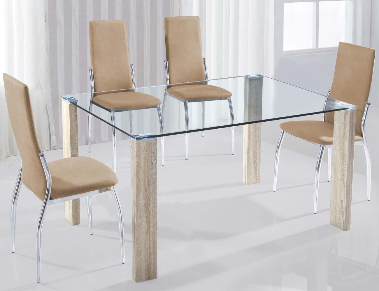 Mesa de comedor con cristal templado y patas en cambrian for Mesa cristal templado ikea