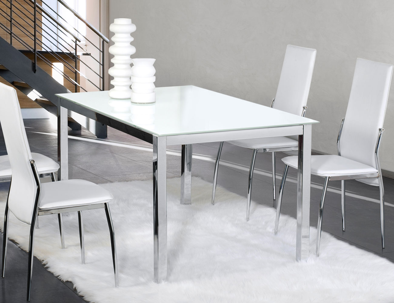 Mesa comedor cristal templado cromada 201 blanca 3092