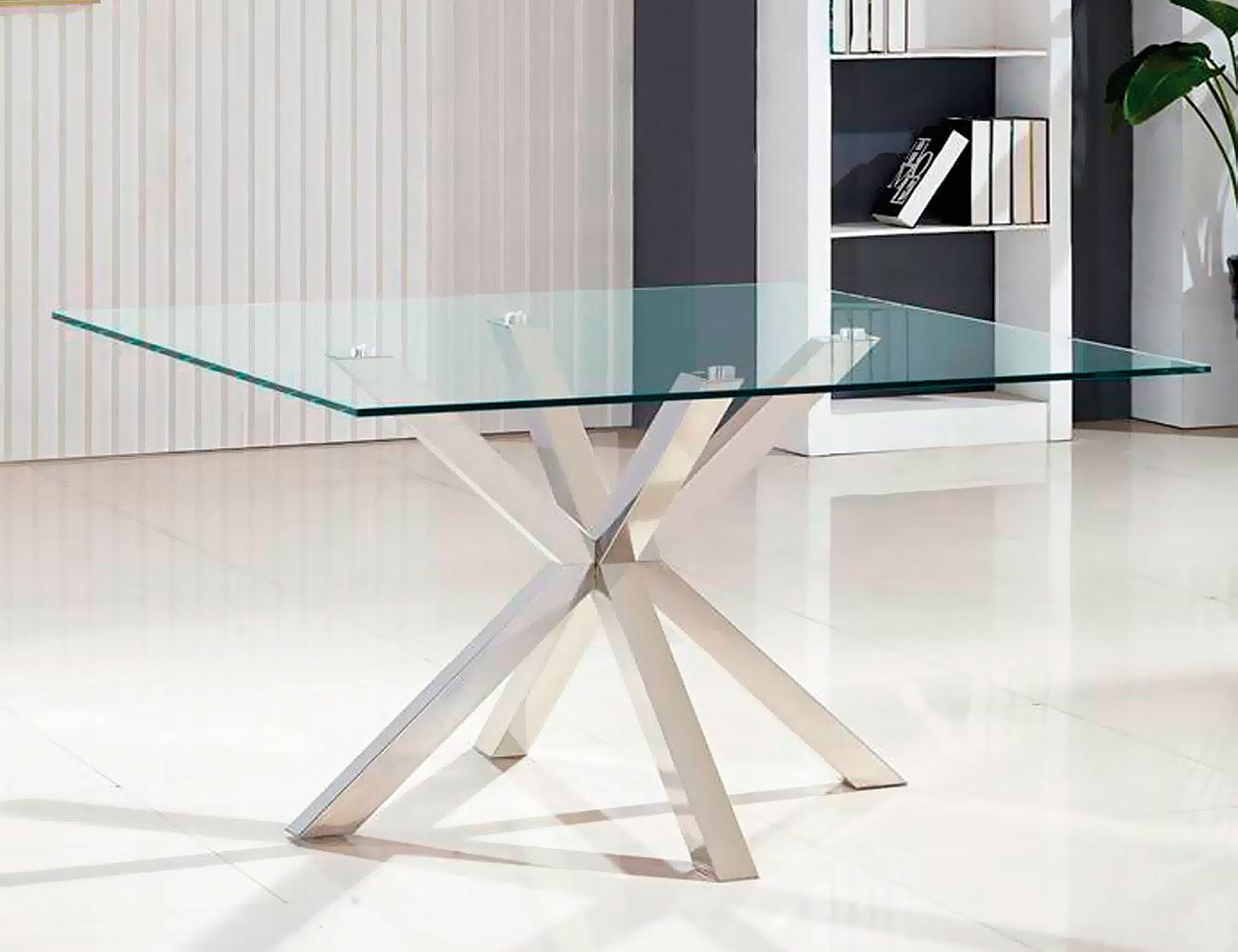 Mesa de comedor de cristal templado cuadrada de 140 cm for Mesas de cristal para comedor