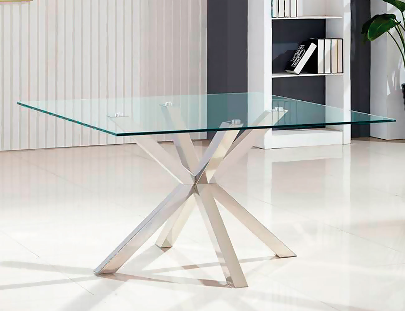 Mesa de comedor de cristal templado cuadrada de 140 cm for Cristal mesa
