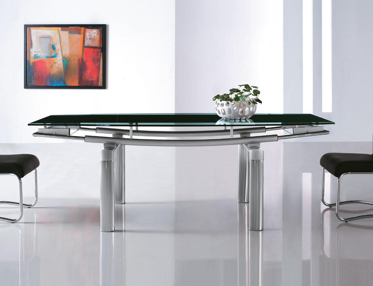 Mesa comedor cristal templado extenisble