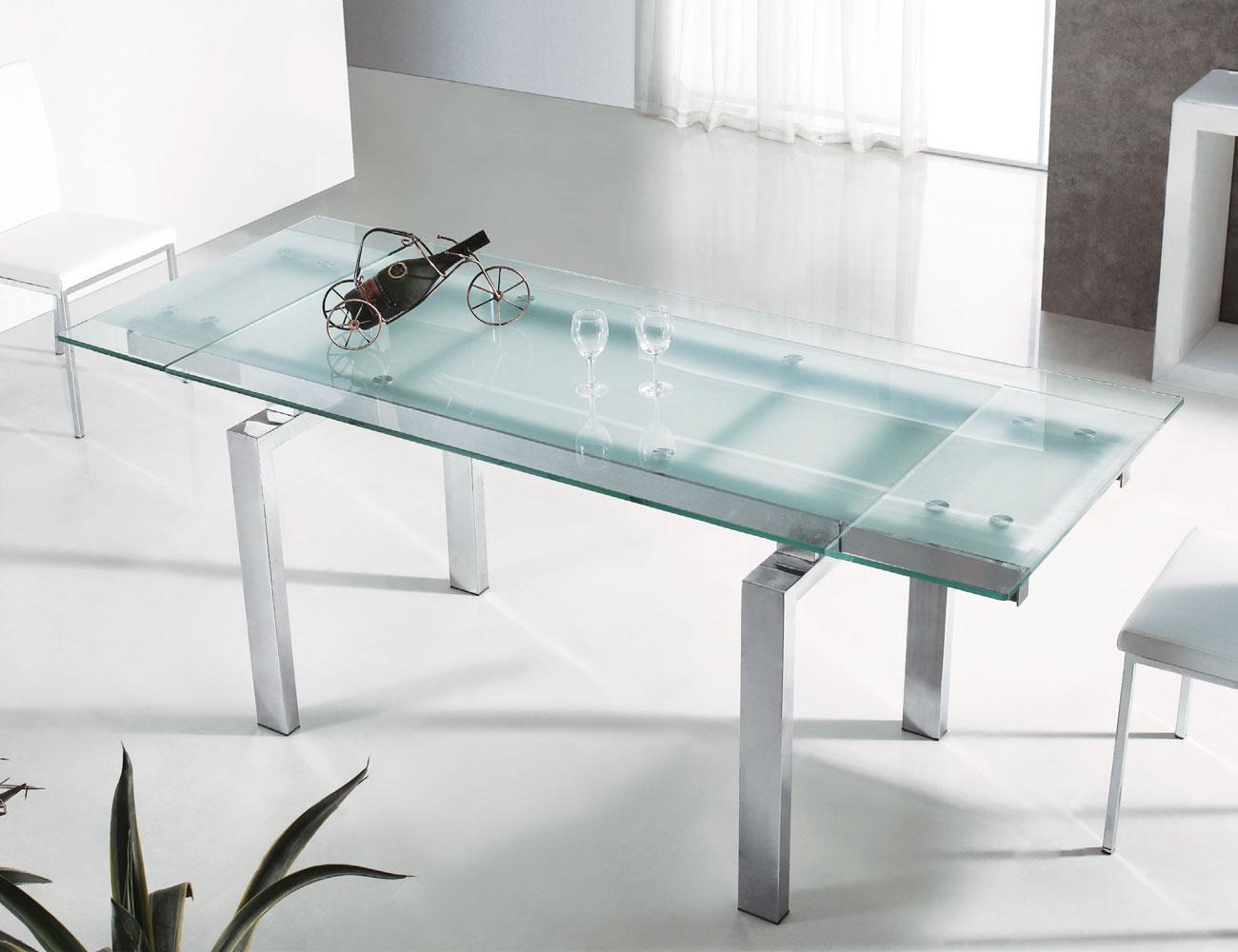 mesa de comedor extensible de cristal templado de 140 a