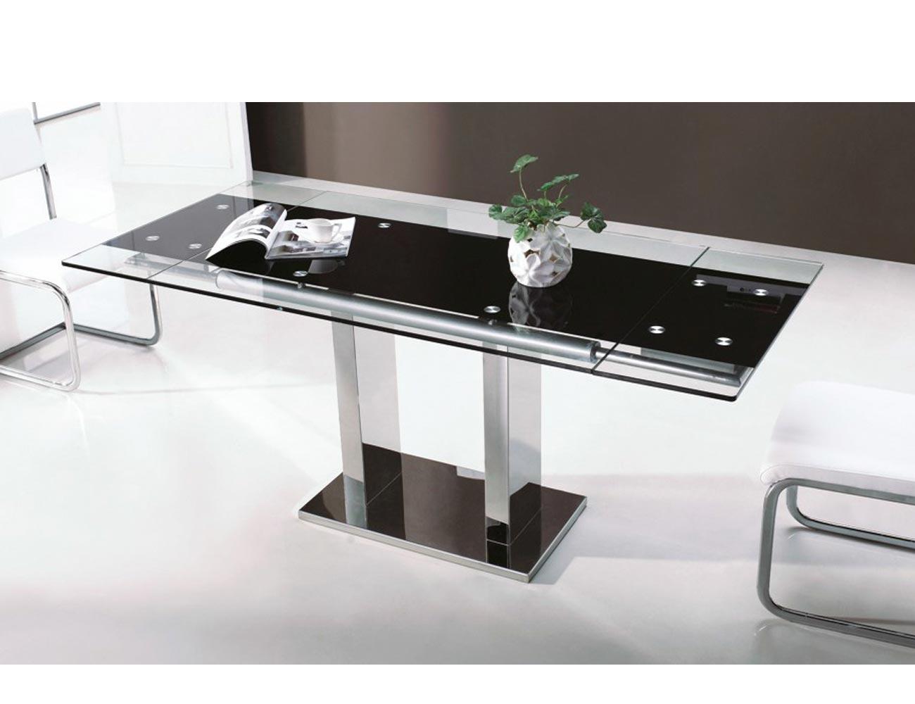 Mesa de comedor de cristal templado extensible 120 180 for Mesas de cristal para comedor
