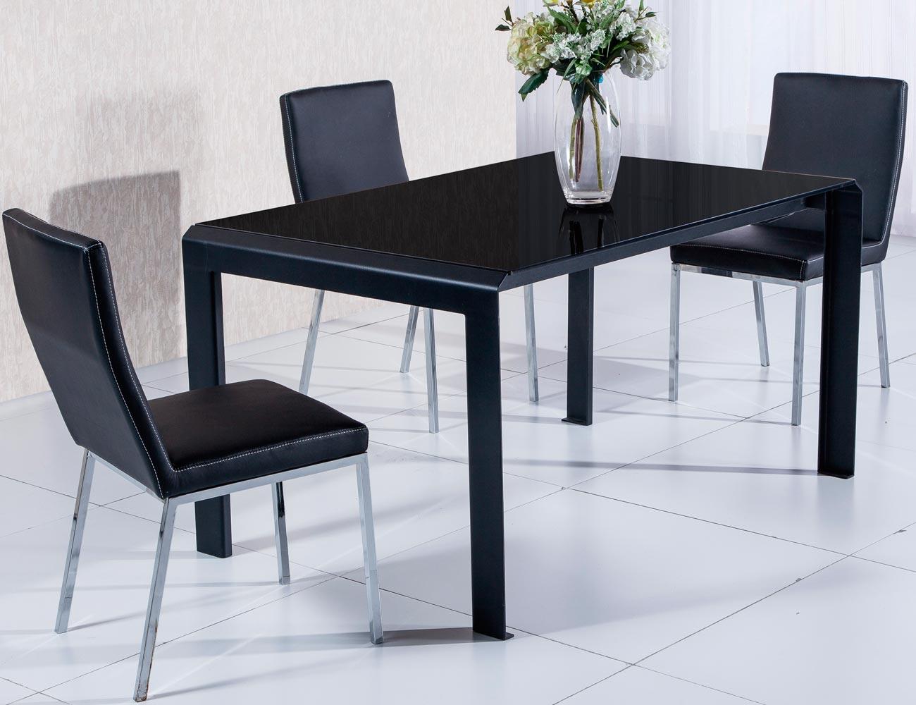 Mesa comedor cristal templado negro