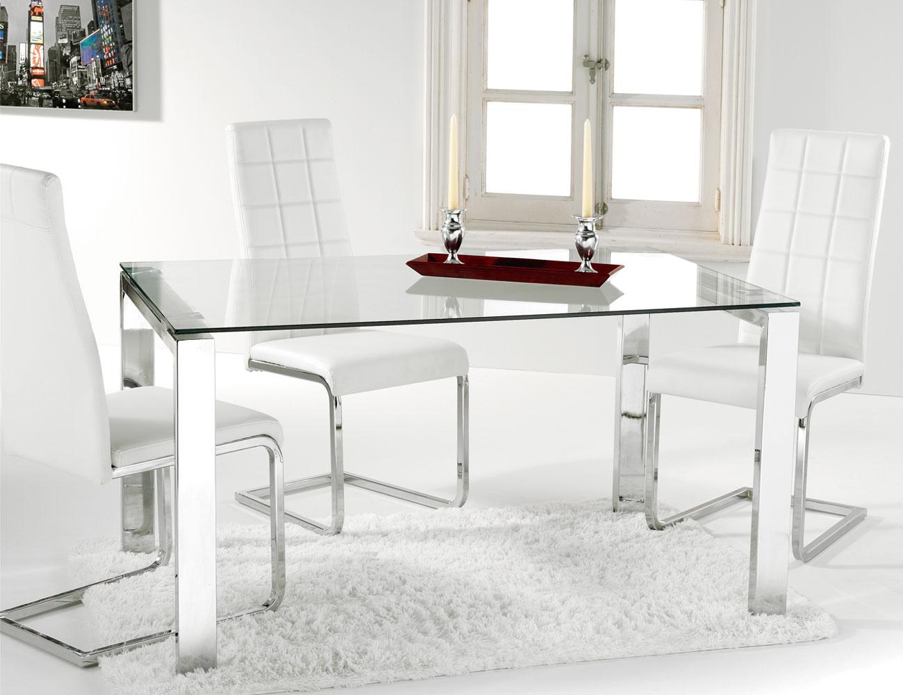 Mesa comedor cristal templado con patas cromadas factory - Mesas de comedor de cristal ...