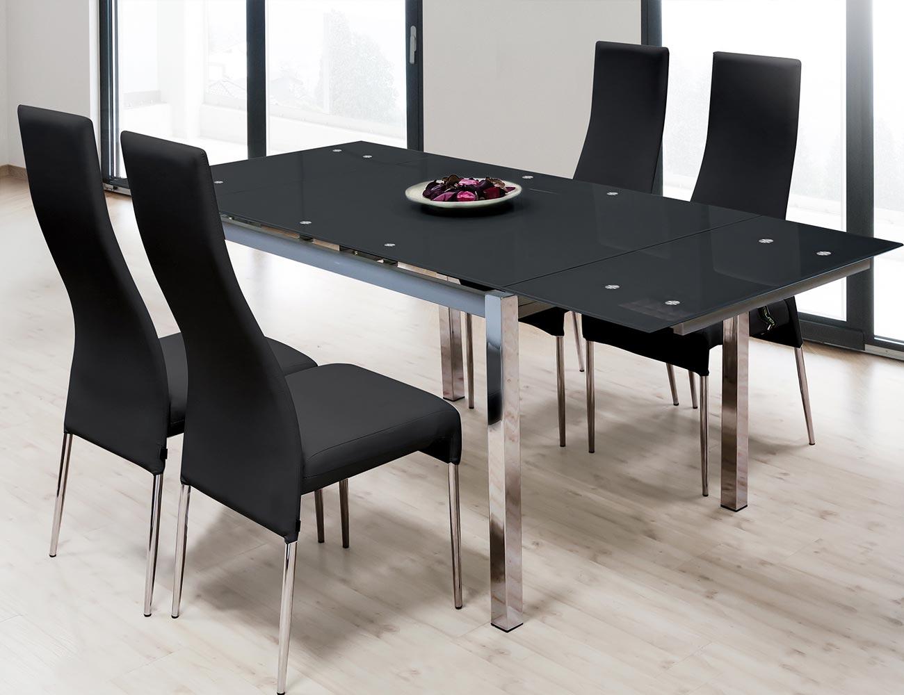 Mesa de comedor de cristal templado negro extensible con alas y ...
