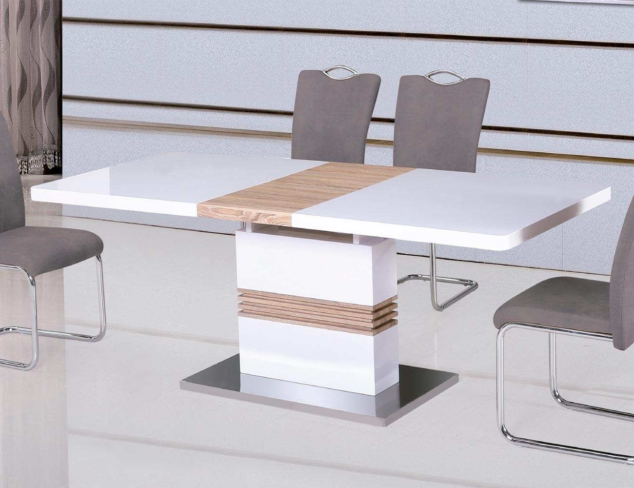 Mesa comedor extensible en blanco lacado con cambrian y base