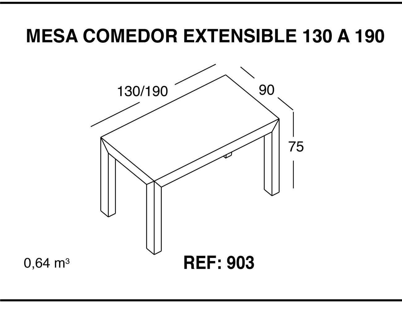 Mesa comedor extensible 130 190