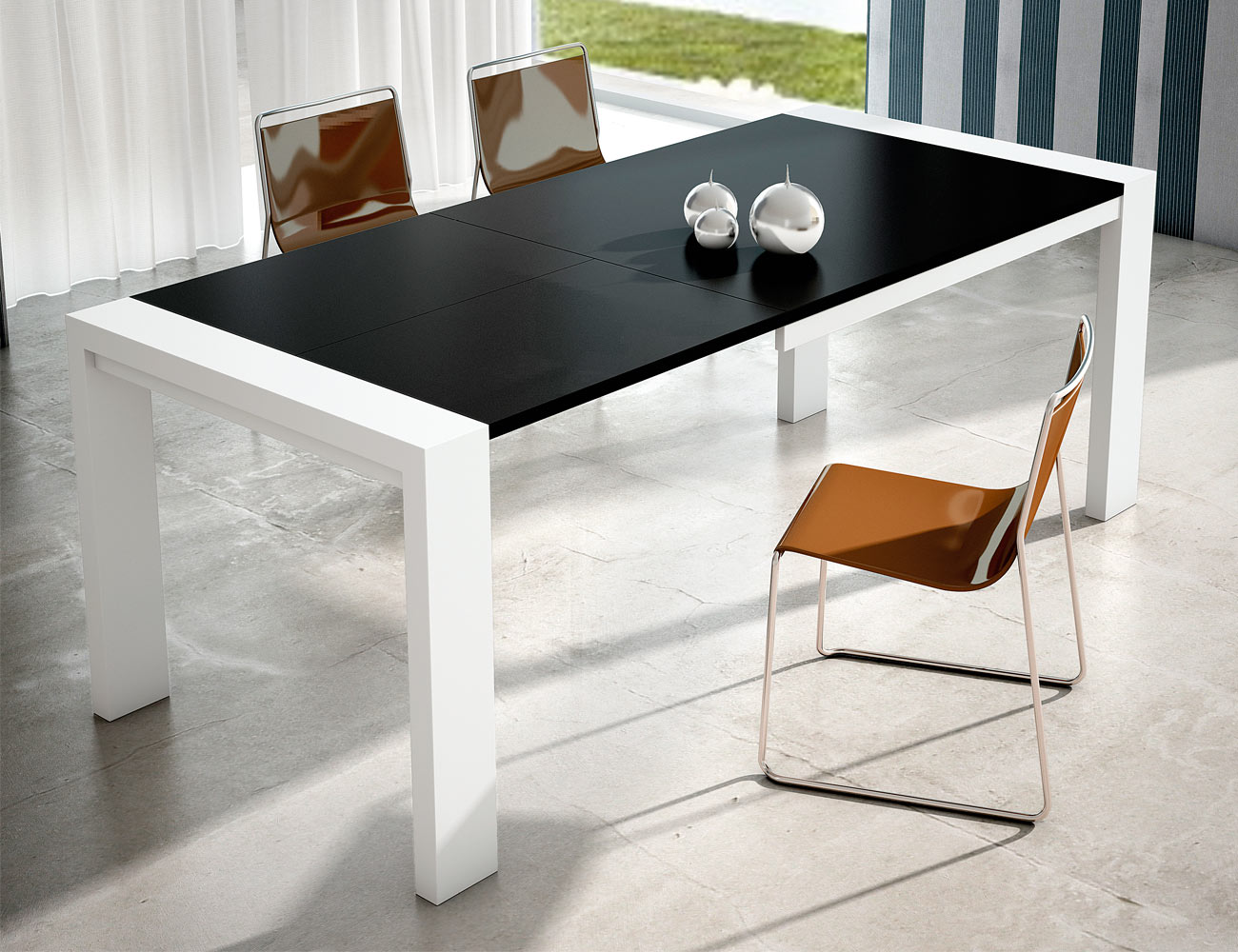 Mesa comedor extensible blanco negro 124