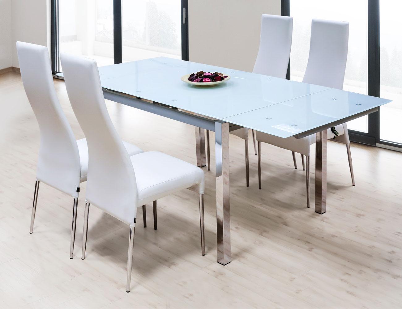 Mesa de comedor de cristal templado extensible con alas for Mesa de cristal extensible