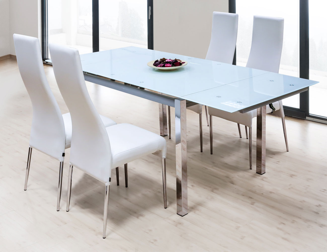 mesa de comedor de cristal templado extensible con alas