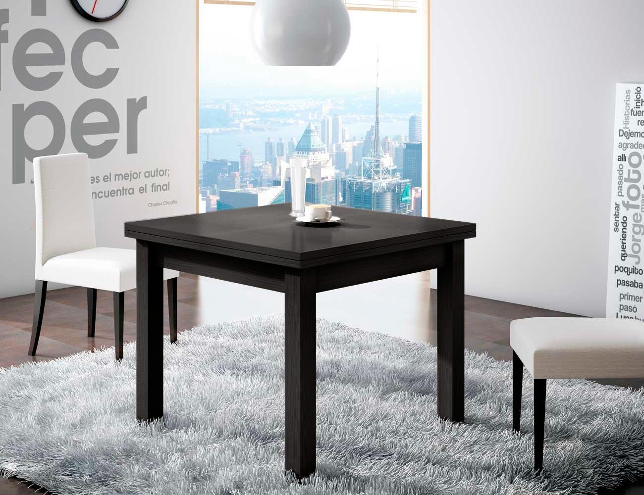 Mesa de comedor cuadrada con apertura de tapa libro color negro ...