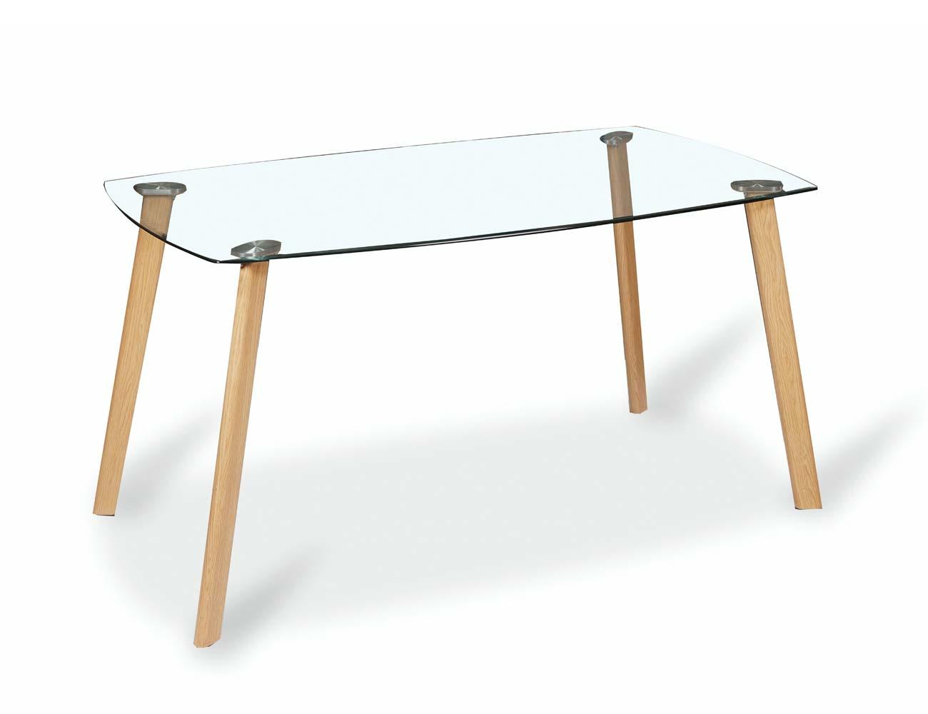 Mesa comedor fija con tapa de cristal y patas de metal - Patas para mesa de cristal ...