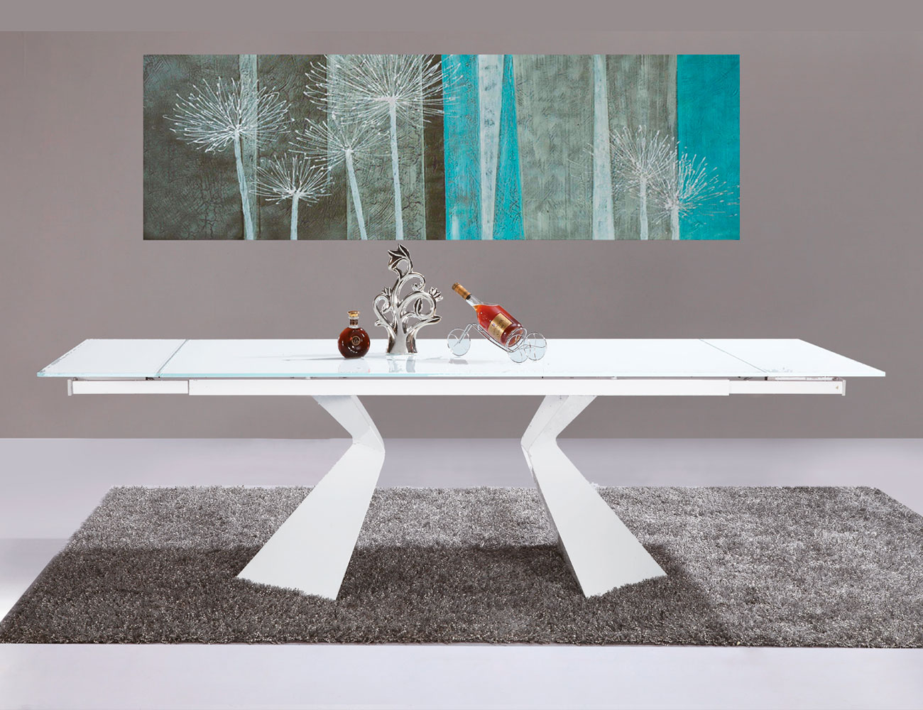 Mesa de comedor de cristal templado extensible 180 a 250 cm de ancho 7461 factory del mueble - Mesa comedor blanca extensible ...