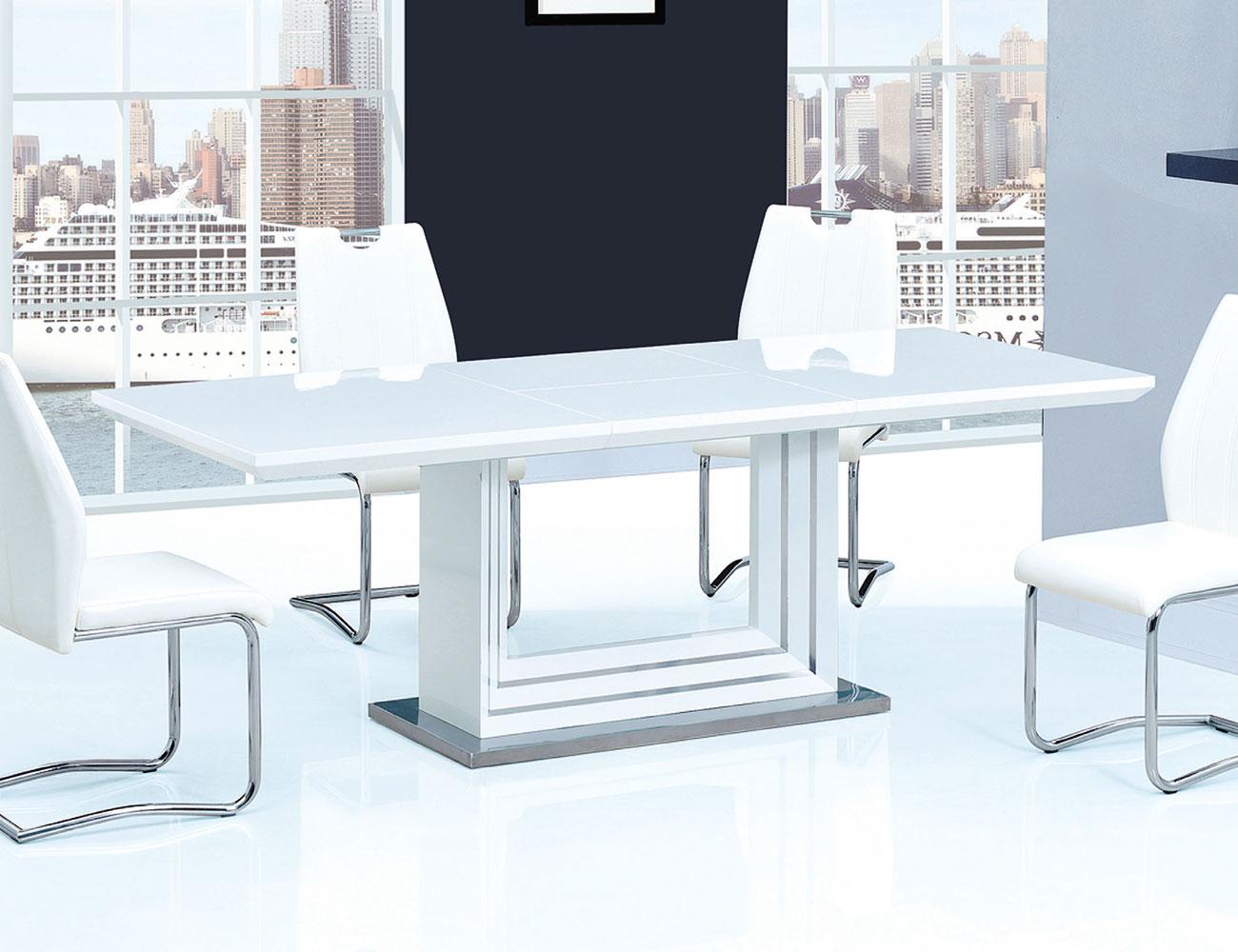 mesa de comedor lacada en blanco alto brillo extensible de