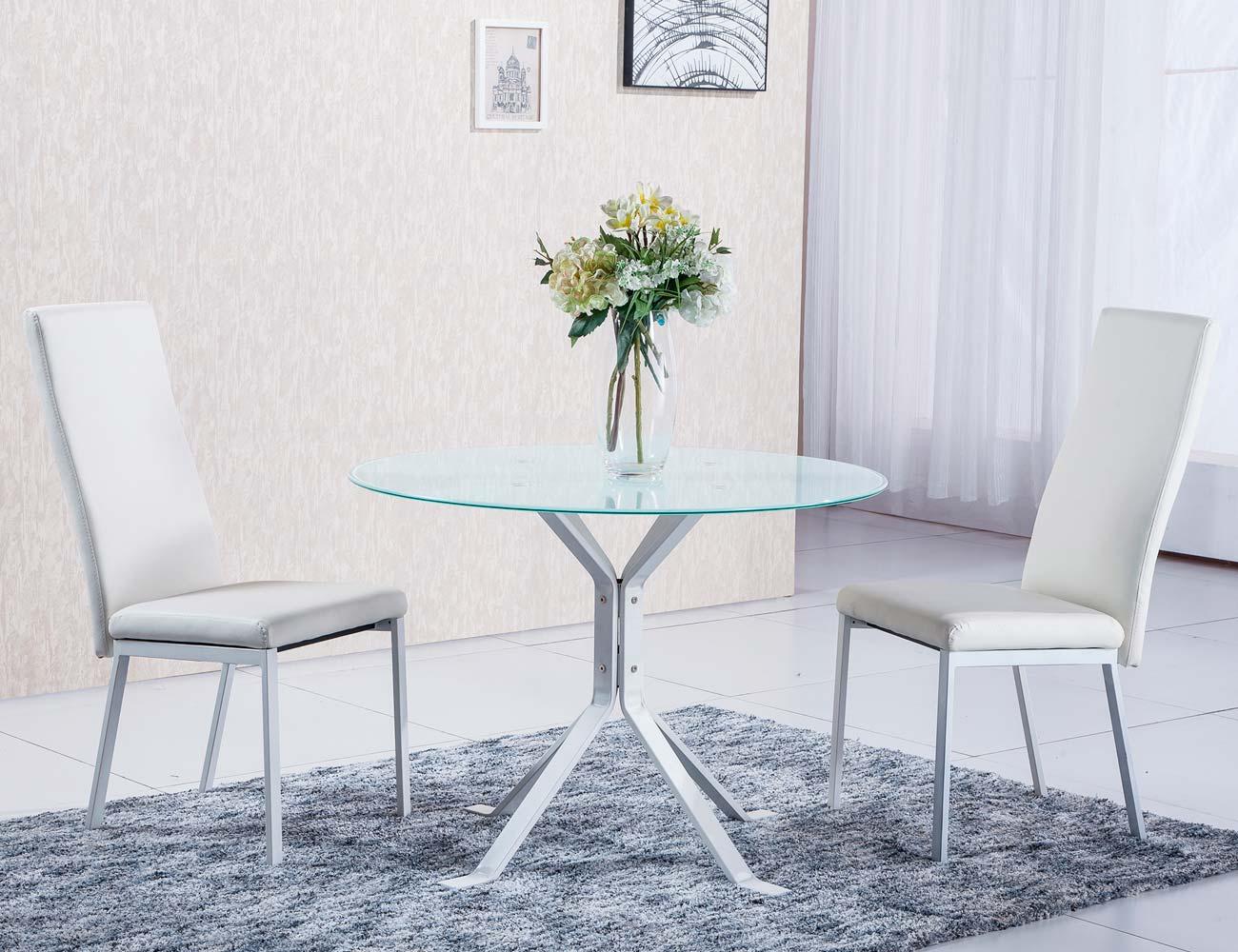 Mesa comedor redonda cristal templado patas blanca 2
