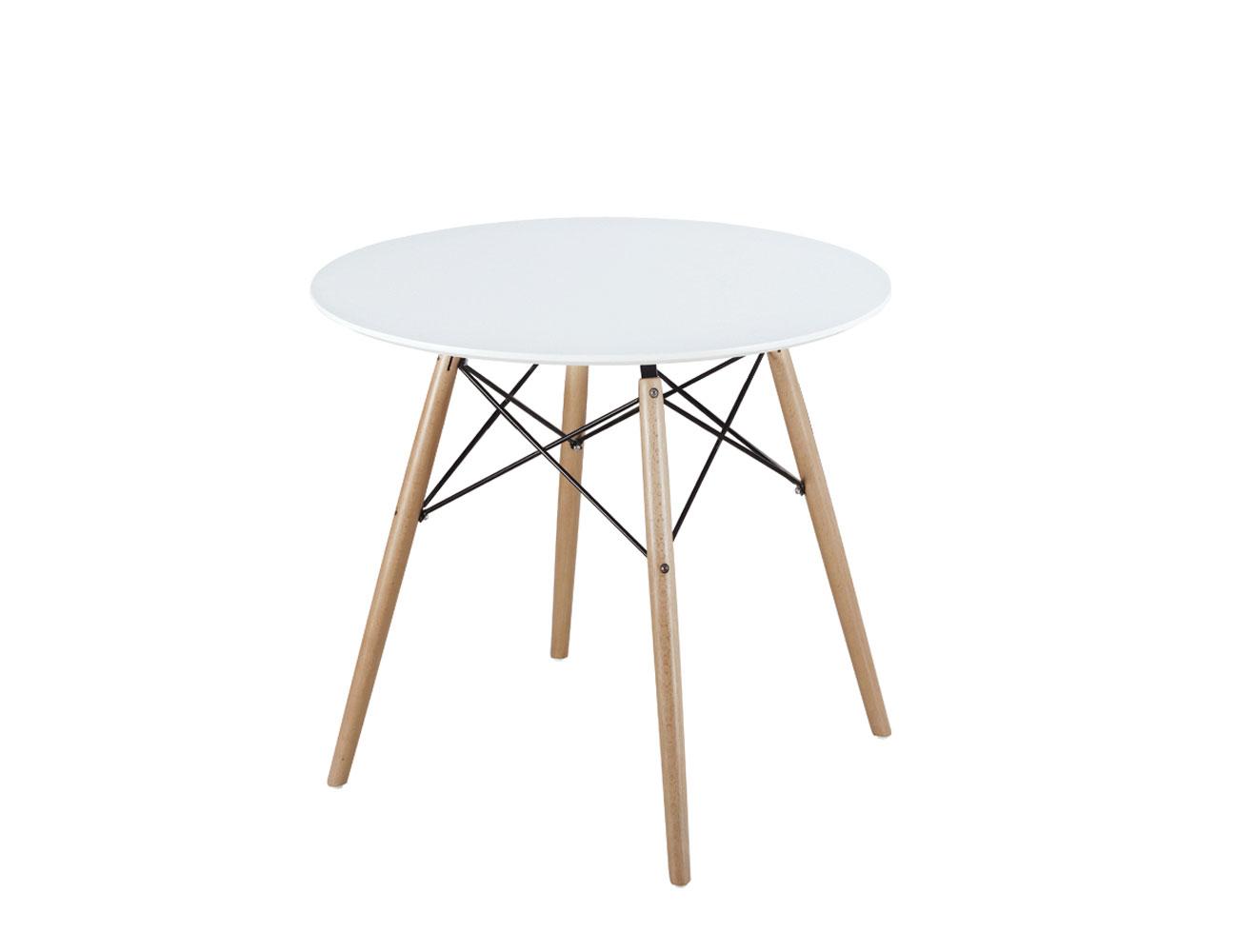 Mesa de comedor de dise o redonda en dm con patas en for Mesa comedor redonda madera