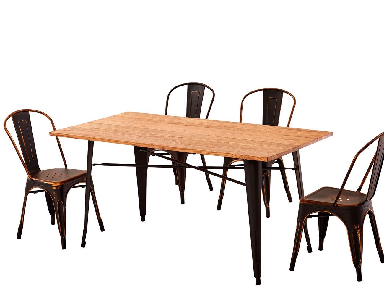 Mesa comedor sobre madera maciza olmo