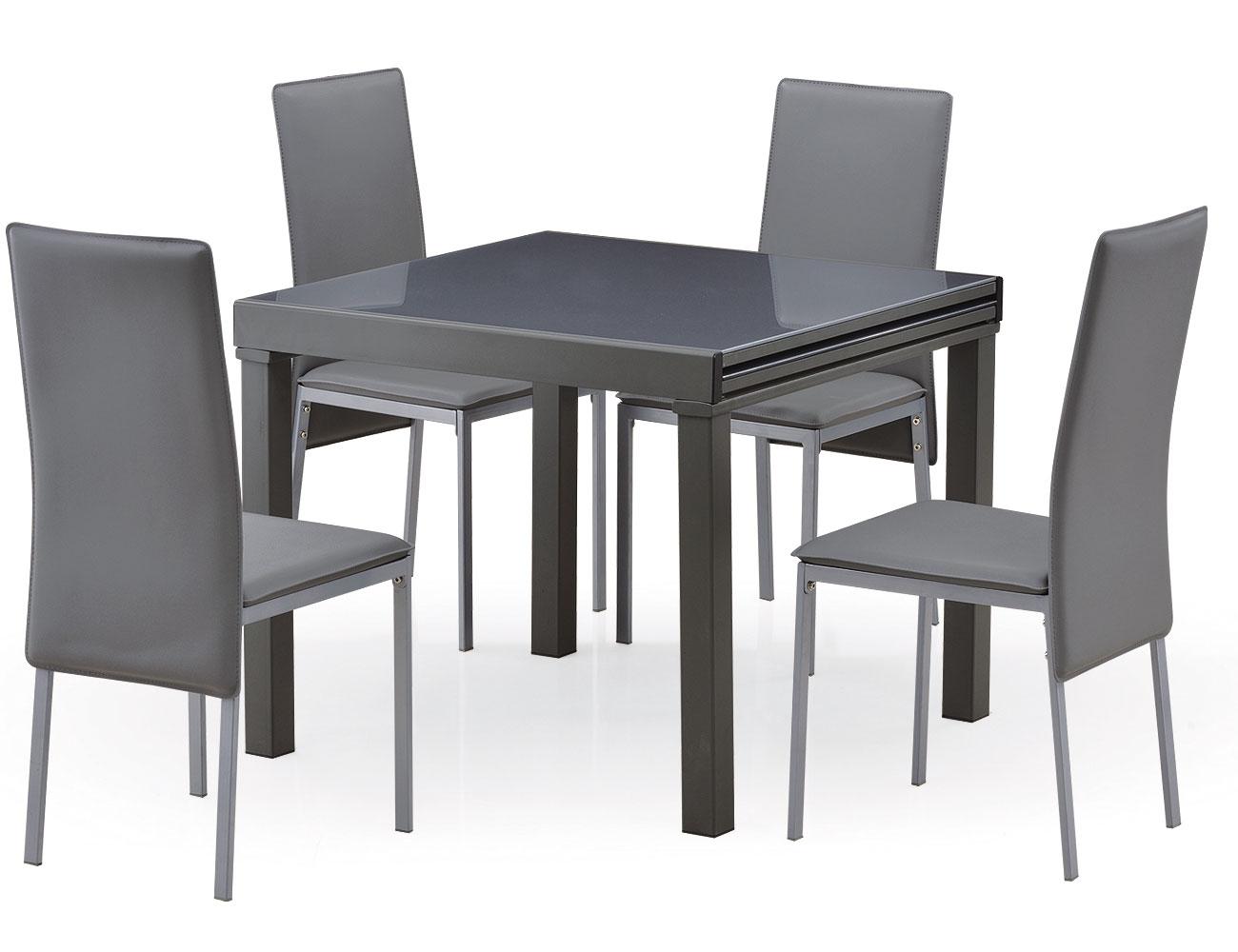Mesa de comedor cuadrada extensible de 75 cm a 150 cm de for Mesas de cocina cuadradas
