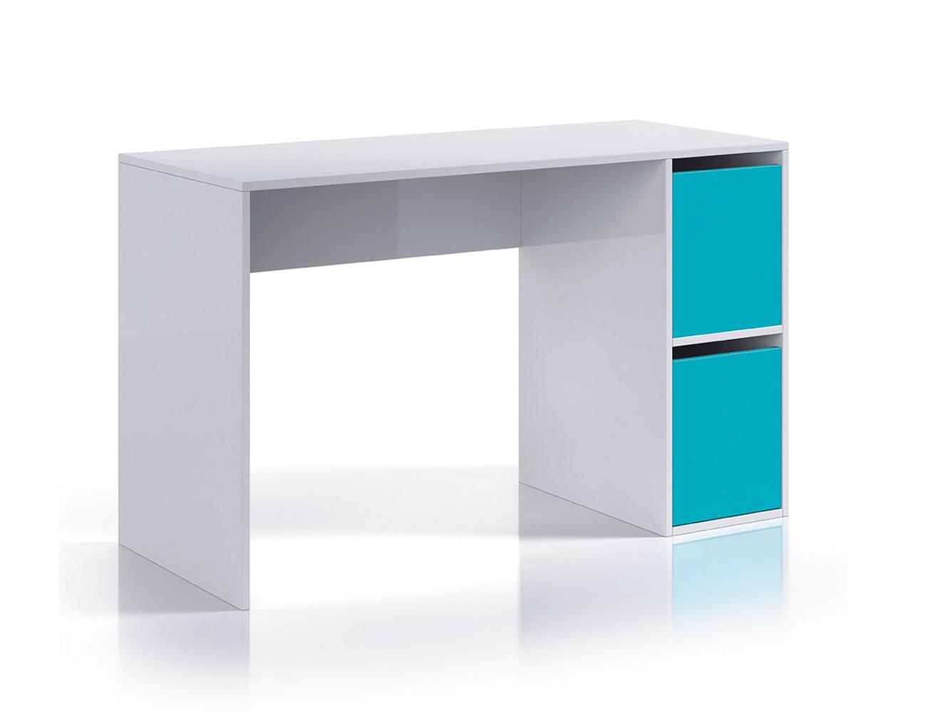 Mesa de escritorio ordenador blanco brillo azul1