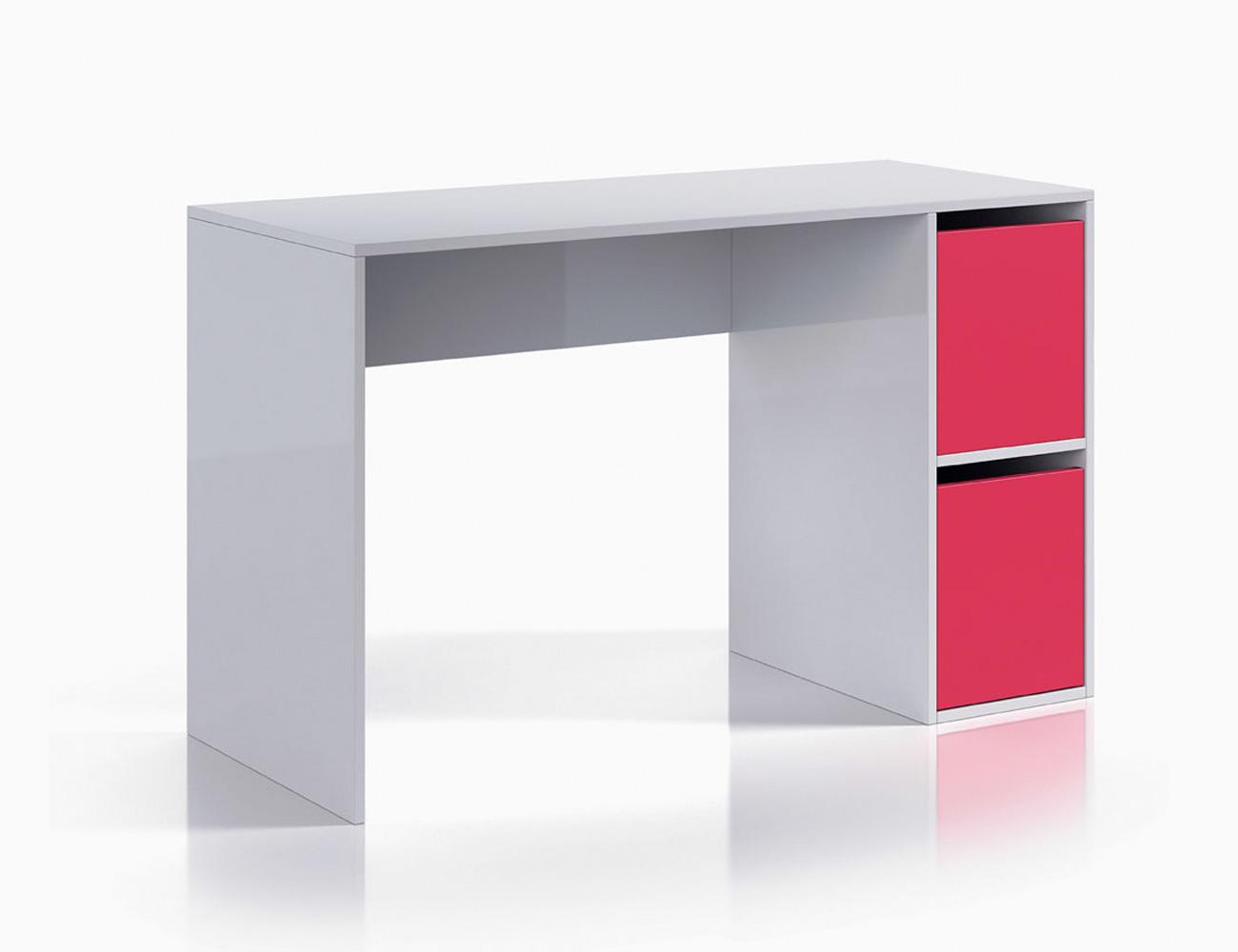 Mesa de escritorio ordenador blanco brillo magenta1