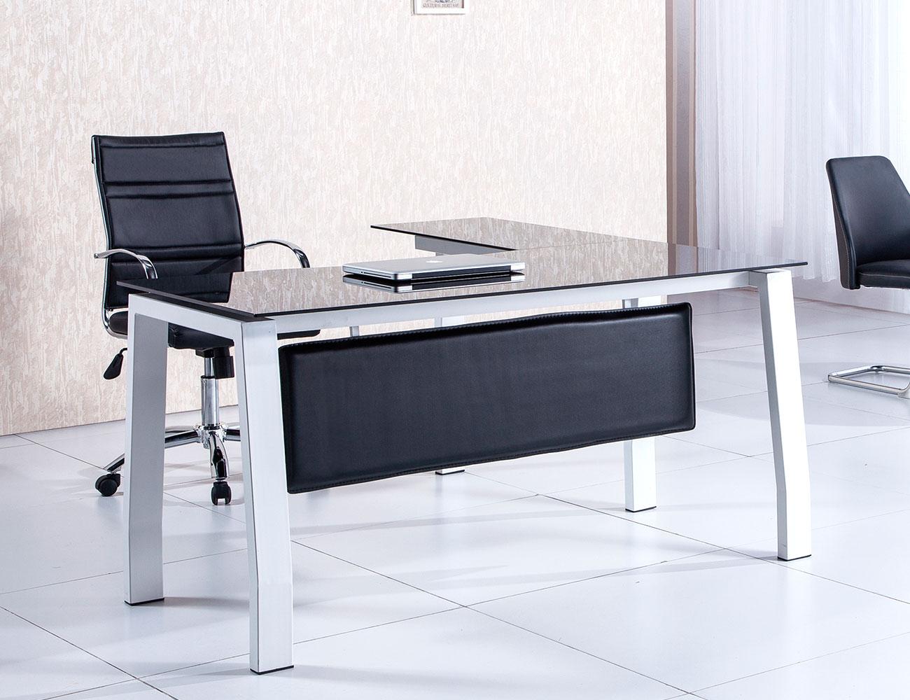 Mesa de despacho u oficina en cristal templado negro (3270 ...