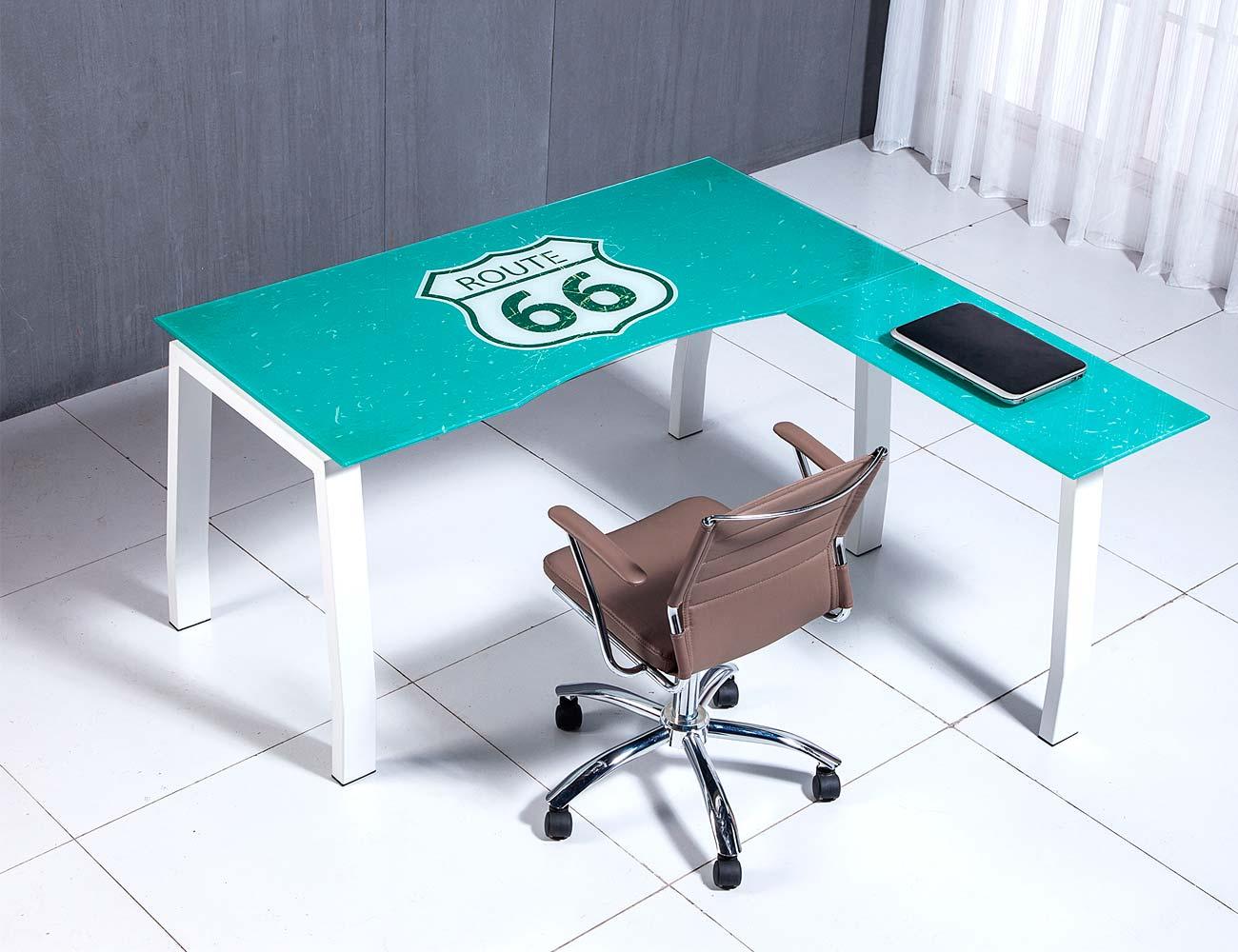 Mesa despacho oficina cristal templado rute 2