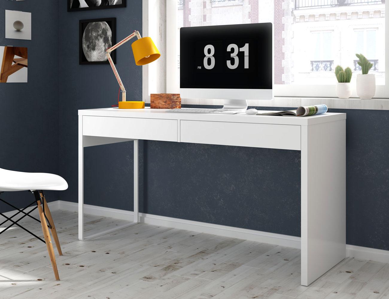 Mesa estudio ordenador escritorio reversible blanco