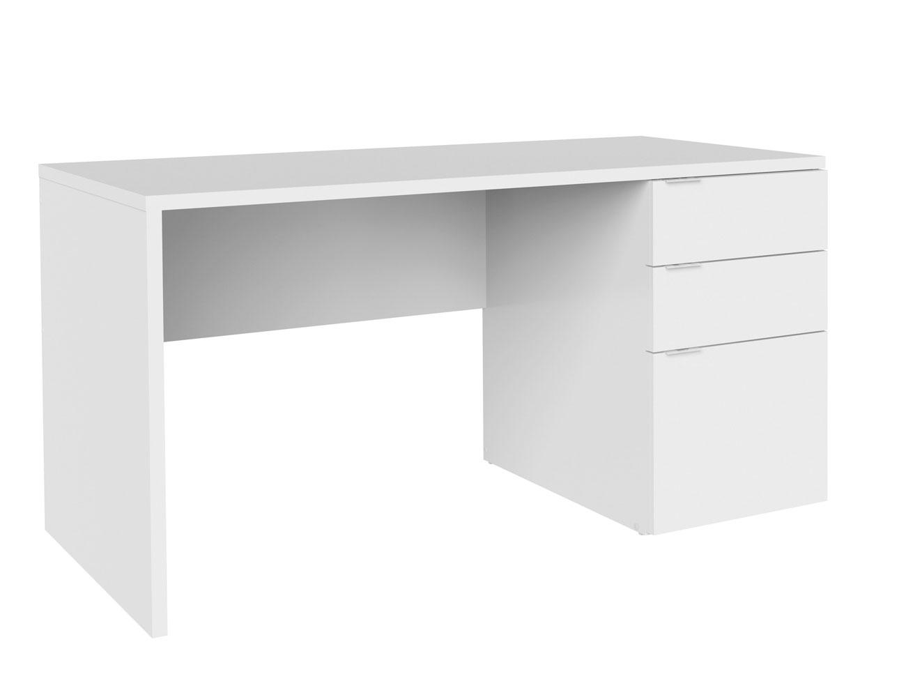 Mesa pc escritorio 044 blanco 3 cajones
