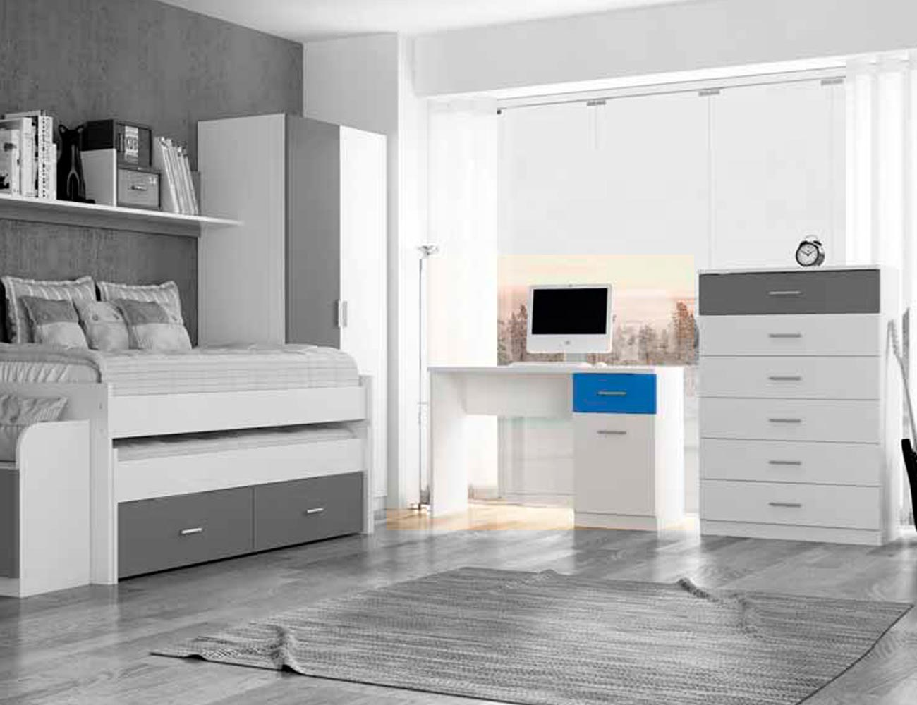 Mueble mesa escritorio de dormitorio juvenil en color for Factory del mueble azuaga