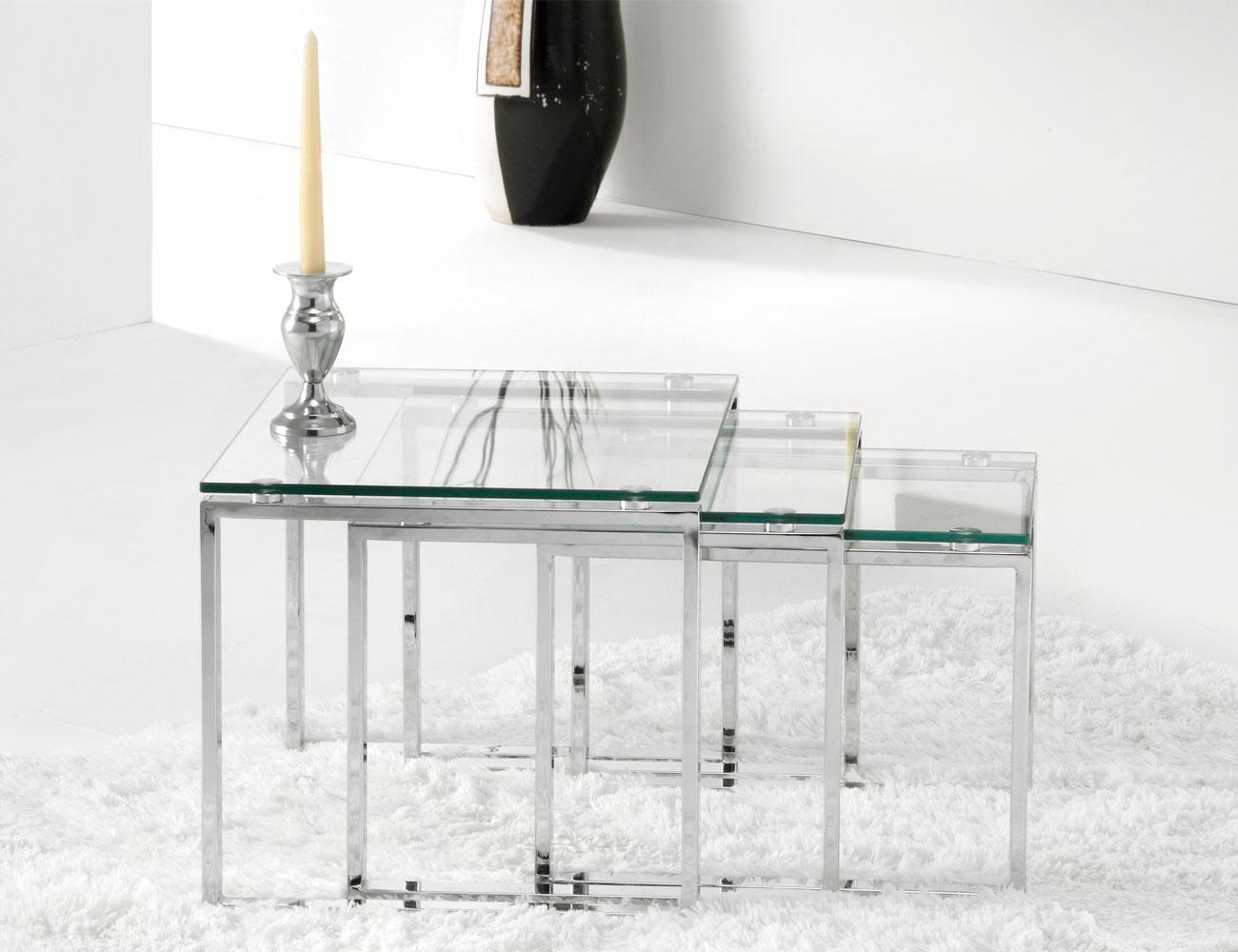 Mesa rincon cristal templado cromado