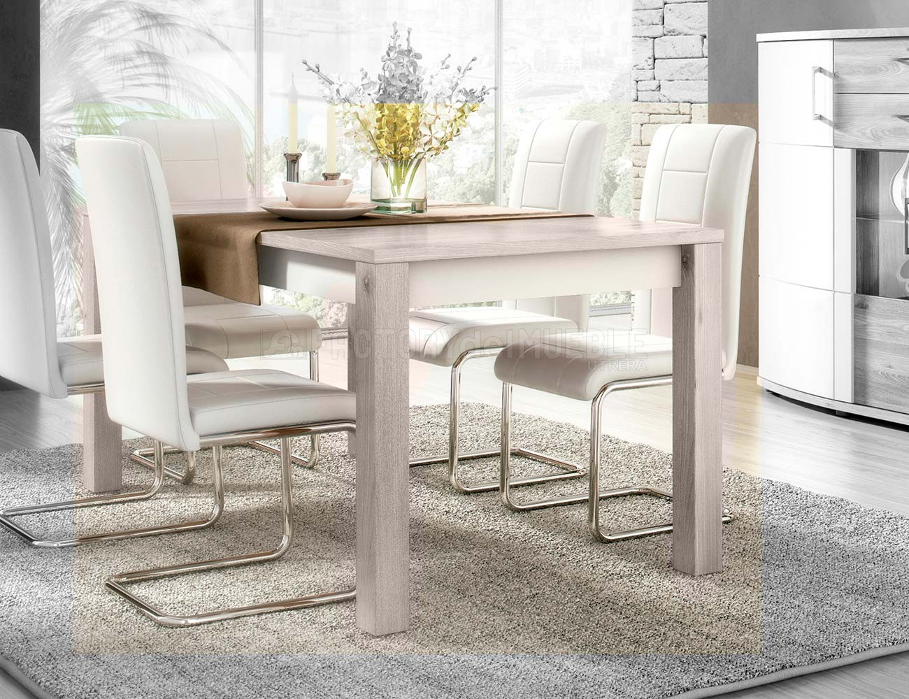 Mesa de comedor extensible en color nelson con blanco for Muebles de comedor en color blanco