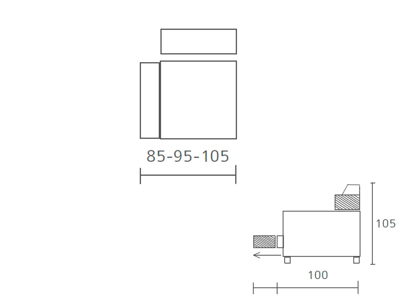 Modulo 1 plaza 1 brazo 85 95 105