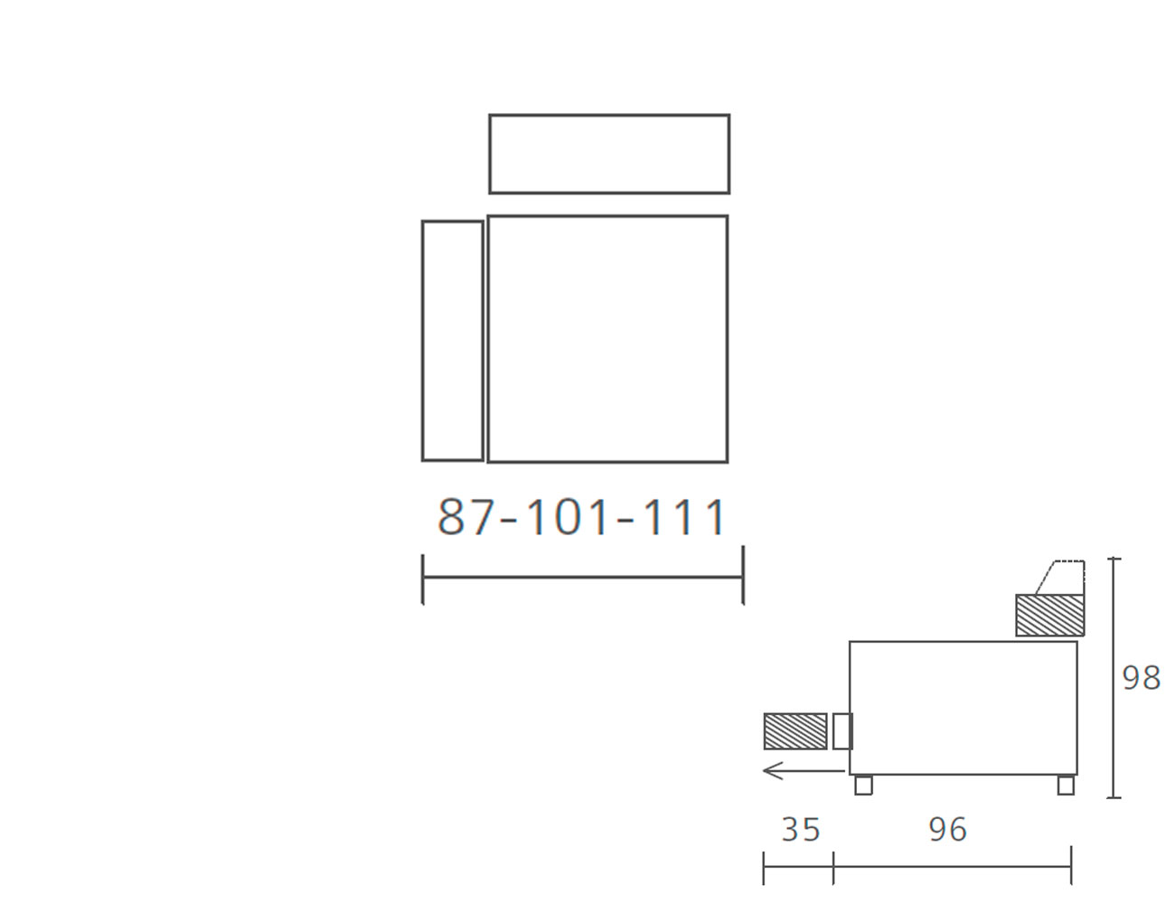 Modulo 1 plaza 1 brazo deslizante 87 101 1116