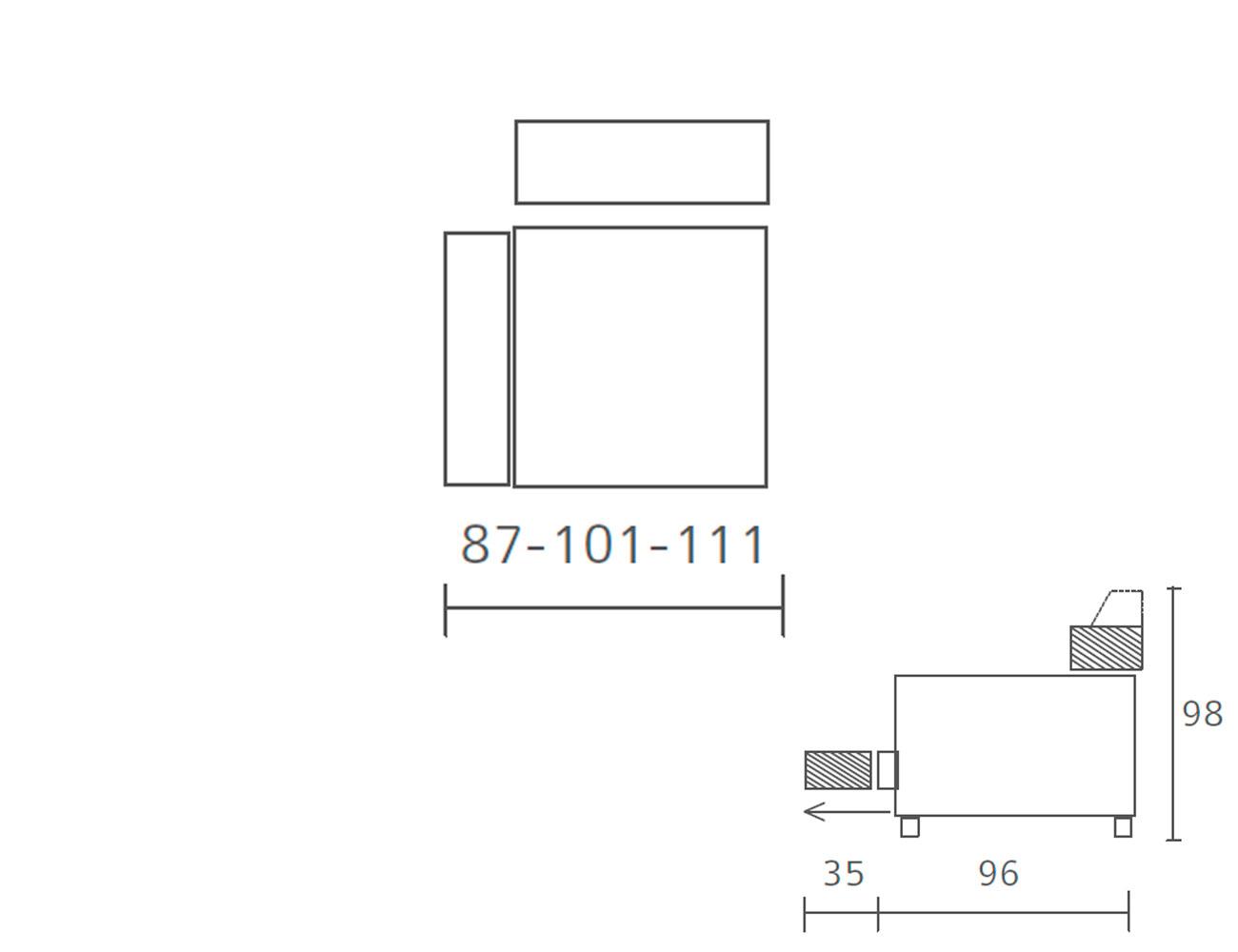 Modulo 1 plaza 1 brazo deslizante 87 101 1117