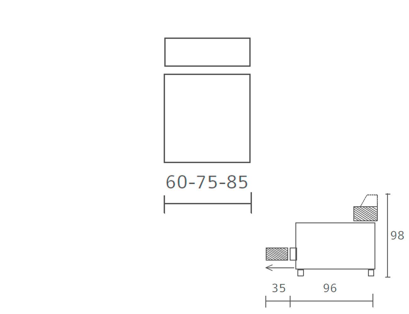 Modulo 1 plaza sin brazo deslizante 60 75 85